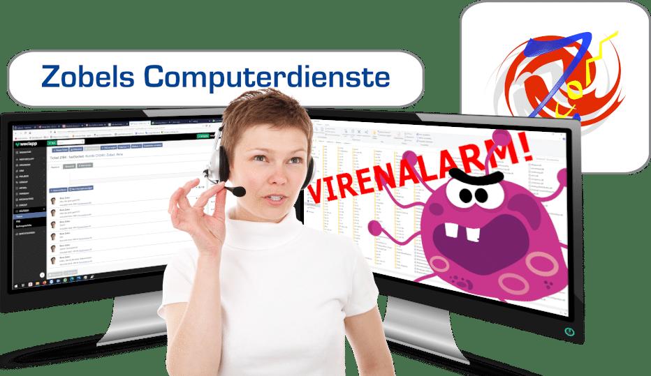 Computerreparatur aus der Ferne: Frau mit Monitor und Headset