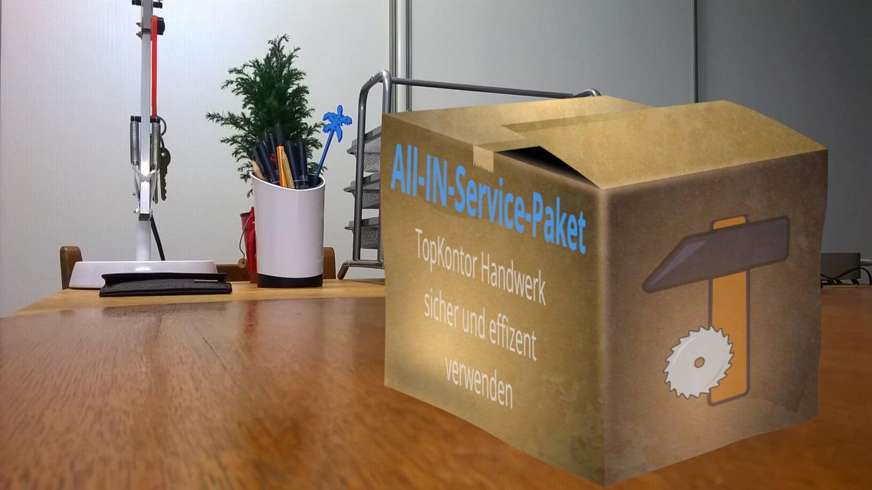 TopKontor Service Box auf einem Schreibtisch