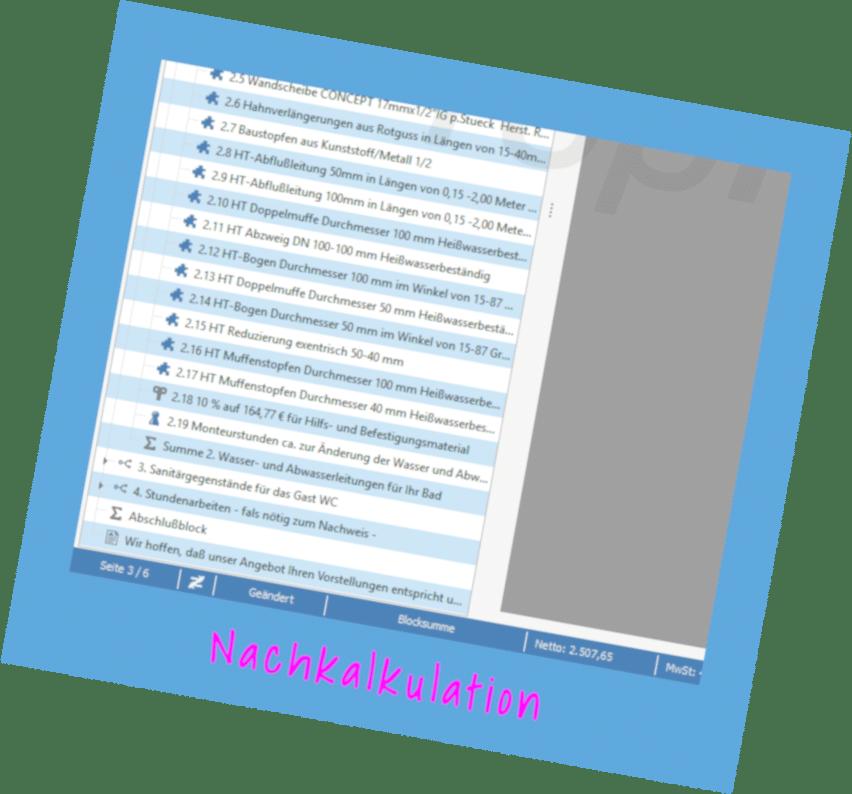 Modul Nachkalkulation von TopKontor Handwerk