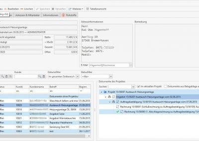 Dokumente eines Projektes in TopKontor Handwerk - Grundmodul