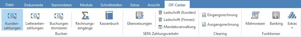 Menüleiste TopKontor Handwerk OP-Verwaltung