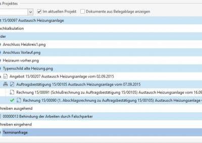 Projektordner in TopKontor Handwerk - Grundmodul