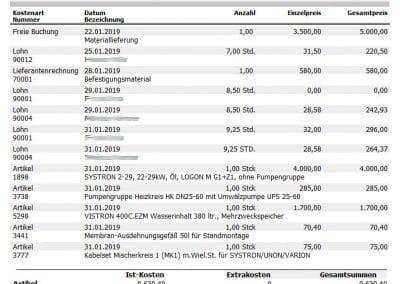 Auswertung Baustellentagebuch aus TopKontor Handwerk Nachkalkulation