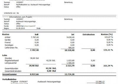 Auswertung Nachkalkulationsblatt aus TopKontor Handwerk Nachkalkulation