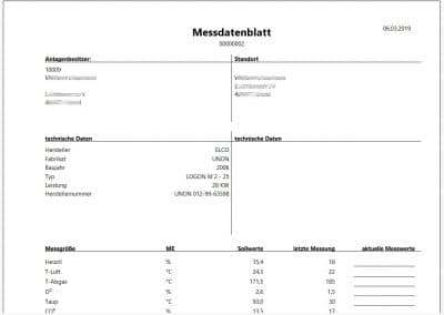 Messdatenblatt einer Anlage TopKontor Handwerk Wartung und Service