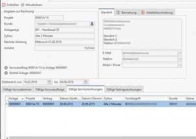 Fällige Servicerechnungen aus den Wartungsaufgaben - Modul Wartung und Service TopKontor Handwerk