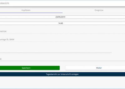Erstellung eines neuen Tagesberichtes in der Baudoku App
