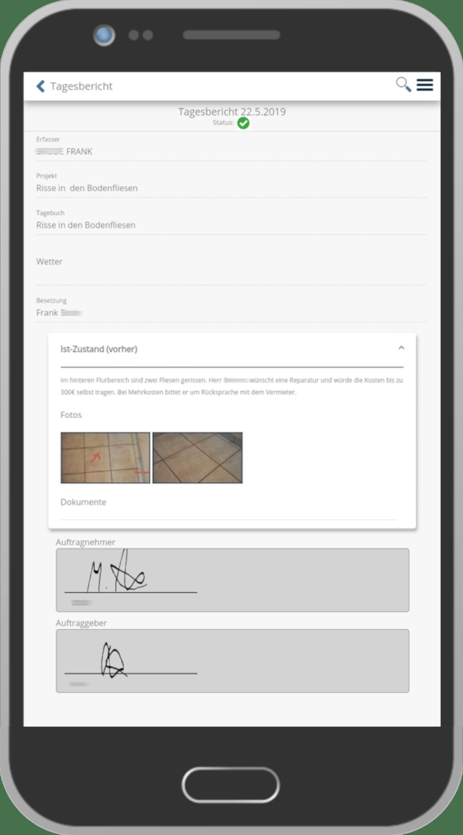 Handy mit einem Tagesbericht aus der baudoku-App